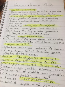 My personal list of biz trends (handwriting sucks but you get the idea)